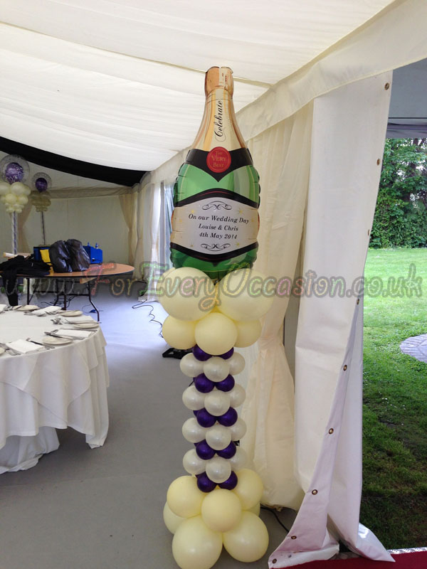Personalised Champagne Bottle Pillar